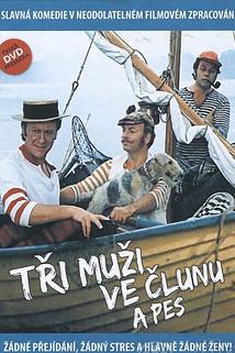 Tři muži ve člunu a pes